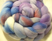 Variegated Roving Hand dyed Merino Top Wool Fiber Purple Fiber Dance 19.5 Micron, 4 ounces