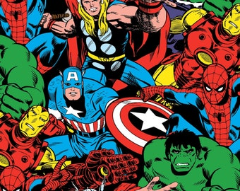 Marvel Avengers Packed Characters Knit Fabric, 1 yard