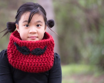 Mustache Cowl Chunky Warm Cowl neck warmer scarf for toddler child or teen/adult boys and girls, men and women