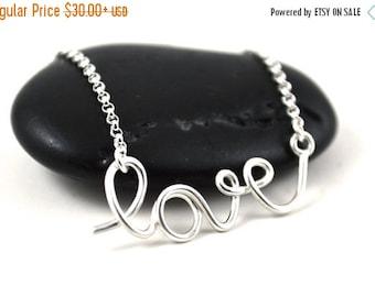 Valentines Sale 20% off Love necklace, cursive love pendant, silver love necklace