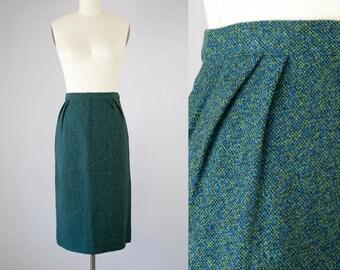 """1950s Vintage Wool Pleated Midi Skirt. Green Blue and Black (M; 28""""Waist)"""