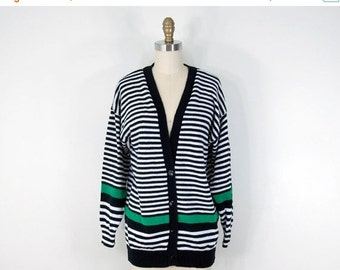 SALE 80s Vintage Striped Slouchy Cardigan (M)