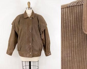 80s Vintage Leather Tonal Stripe Jacket (M)
