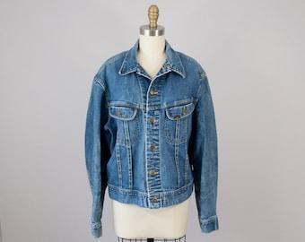 1980s Vintage LEE Riders Washed Denim Jacket. 80s American Jean Jacket (M, L)