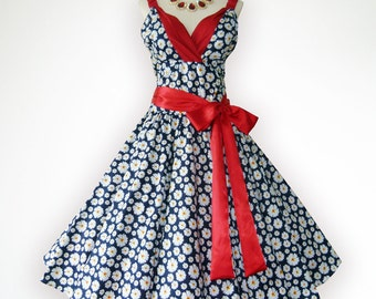 Gorgeous Blue Adorable Daisy Floral 50s Pin up Rockabilly Swing Dress Full Swing Skirt