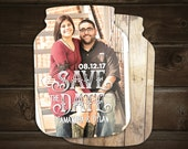 Mason Jar Save the Date Cards, Rustic Save the Dates, typography overlay, photo save the dates, 10 printed cards with envelopes