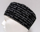 Mens Scrub Hat, Surgical Cap, Skull Cap or Chemo Hat Equations on Black