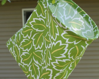 Clothespin Bag Handmade - Green Leaf Parade by Pink Tag Original Stay Open Design