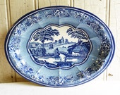 Blue Willow Tin Serving Bowl - 1960s - Daher Made in England