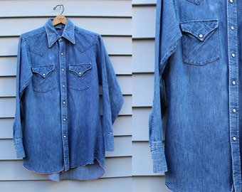 Vintage Vtg Vg 1970's 70's Chambray Pearl Snap Denim Shirt Button Up/Down Men's Hipster Country Western Ranch Wear Cotton Ely Plains Rider