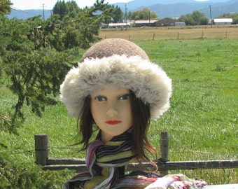 Knit Felt Tan Brown Pumice Wool Fur Trim Hat  Crusher
