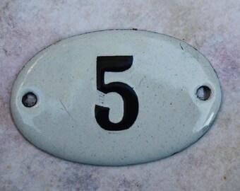 European House Number 5 Enameled Number Tag
