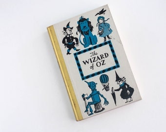 Vintage The Wizard of Oz Book Hardcover Junior Deluxe Edition Frank Baum 1950s Children's Fiction