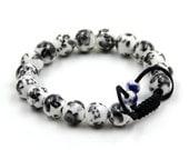 10mm Porcelain Flower Leaf Prayer Beads Wrist Mala Bracelet For Meditation  T3309