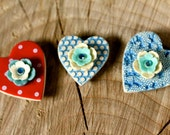 Ceramic Heart Magnet Trio By Twinkle Jewellery - Red & Blue Set, Valentines Day gift