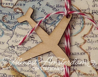 10 to 50 Wooden Airplane (aeroplane) Charms for Boarding Pass or Passport invitations and Paper Crafts