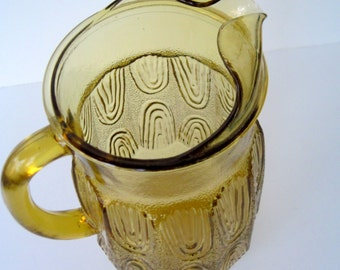 Anchor Hocking Amber Pitcher,  Vintage Gold Pitcher Iced Tea,  Water,  Lemonade Cottage Chic Beach House