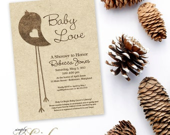 Little Bird Baby Shower Invitation - Burlap and Kraft Paper Rustic Chic Gender Neutral Printable Invitation