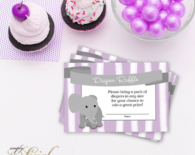 INSTANT DOWNLOAD Elephant Baby Shower Diaper Raffle insert Purple Stripes PRINTABLE