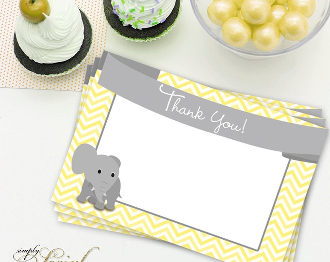 INSTANT DOWNLOAD Elephant Baby Shower Thank You Card Yellow Chevron PRINTABLE