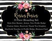 Black and White Striped Premade Watercolor Floral Etsy, facebook and Business Card Design Business Branding Set - Rosies Posies