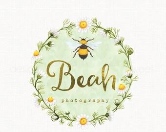 watercolor bee logo design premade logo design flower wreath logo design watercolour logo design photography logo bespoke logo watermark