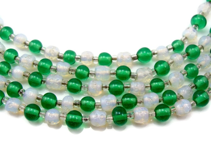 Opalescent Glass Bead Necklace, Green Glass,  Multi Strand Vintage Jewelry 5 Strands 1950s 50s Jewelry Glass Necklace Bib Necklace Necklace
