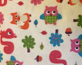 Foxes and Owls - Cotton Flannel Fabric - BTY