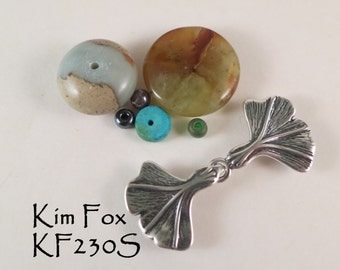Hook and Eye Clasp with Gingko Leaf Design in Sterling Silver or Golden Bronze by Kim Fox