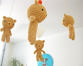 Woodland Nursery Baby Mobile, Woodland Bear Mobile, Wild Animal Mobile, Baby Mobile Woodland, Forest Mobile, Crochet Teddy Bear Mobile