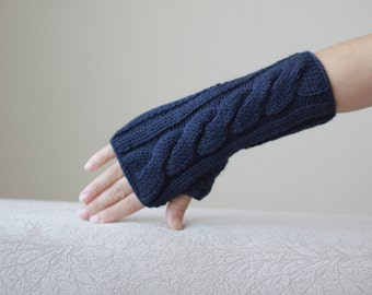 Women fingerless gloves, Navy blue gloves fingerless, Knit mittens, Gloves for women, Navy blue mittens, Womens gloves, Knit gloves