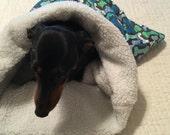Small Dog Blue Multi Bones Print Snuggle Sack / Sleeping Bag FREE SHIPPING within the US