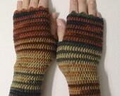 SALE!Crochet fingerless glove mittens, Color block Knit arm warmers, Crochet wrist warmers, Wool knit fingerless glove, Crochet glove mitten