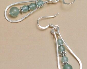 Silver wire wrapped Green Aventurine narrow teardrop earrings