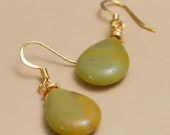 Gold wire wrapped earrings with Natural Amazonite teardrop beads
