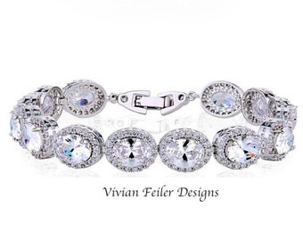 Wedding Bracelet, Bridal Bracelet, Oval Cubic Zirconia Bling Prom Wedding Jewellery Pageant Bracelet Mother of the Bride Maid of Honor