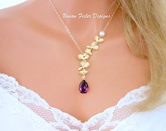 Purple Wedding Jewelry GOLD Amethyst ORCHID Necklace Pearl Bridal Jewelry Bridesmaid Gift Wedding Jewellery