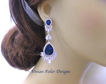 Blue Wedding Earrings SAPPHIRE BLUE Bridal Earrings STATEMENT Glamorous Tear Drop Pageant Earrings