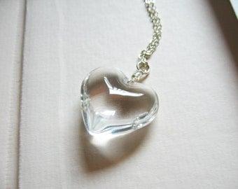 Frozen heart - clear glass heart necklace