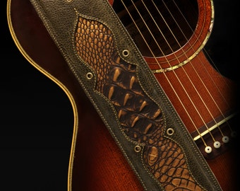 Brown Leather Guitar Strap, Custom Guitar Strap with Faux Gator :Bronze Knight Guitar Strap