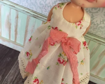 Blythe Dress - Roses with Apricot