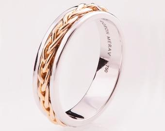 Braided Ring No.9, 14K Gold Ring , Wedding Band , Two Tone Ring , rose gold , white gold, celtic ring, wedding band, mens band, knot ring