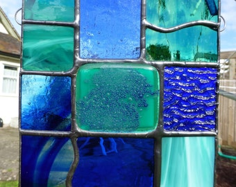 Stained Glass Ocean Fusion Aqua Blue and Emerald Green Light Catcher MTO