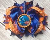 Nemo hair Clip, Nemo Hair Bow, Nemo Bow, Dory and Nemo Bow, Disney Inspired Nemo Hair Bow