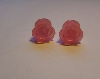 Pink Rose Post Earrings    777