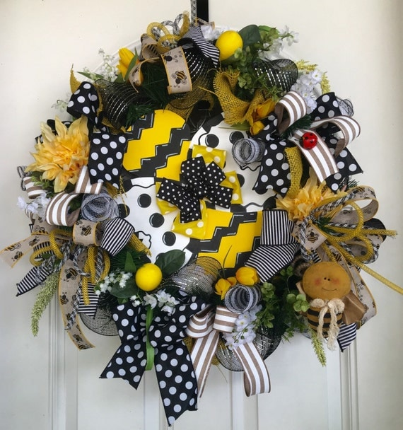 Items similar to bee wreath summer wreath summer door for Bee decorations for the home