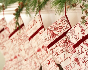 Christmas Carols/Words Christmas Stocking - Red Stocking