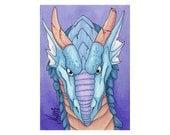 Blue Dragon - Fantasy ACEO Original Art Card - Miniature Drawing
