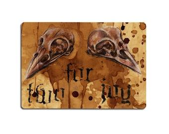 Two for Joy - Magpie Skulls Sticker Art - Gothic Dark Macabre Oddity