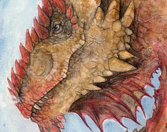 Ancient Dragon Painting- Fantasy Art - A4 Art - Mythology - Monster